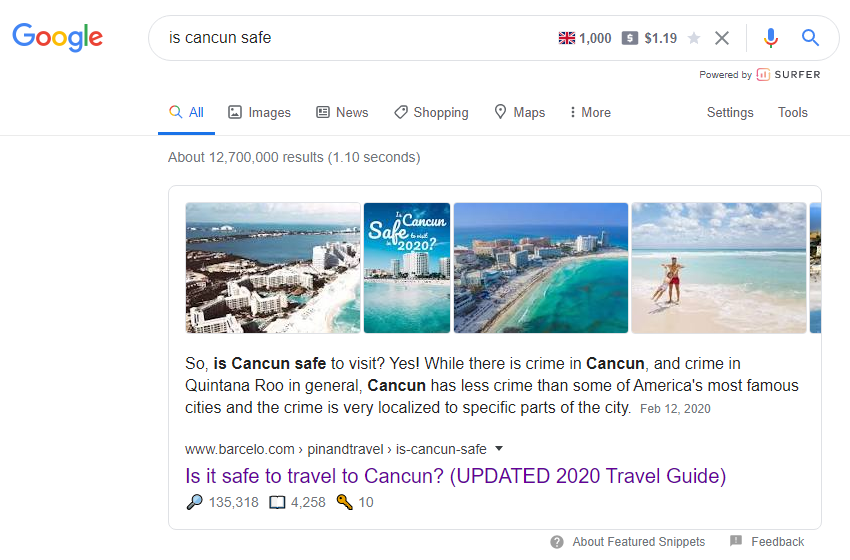 "Featured Snippet in Google for ""is Cancun safe"" search"
