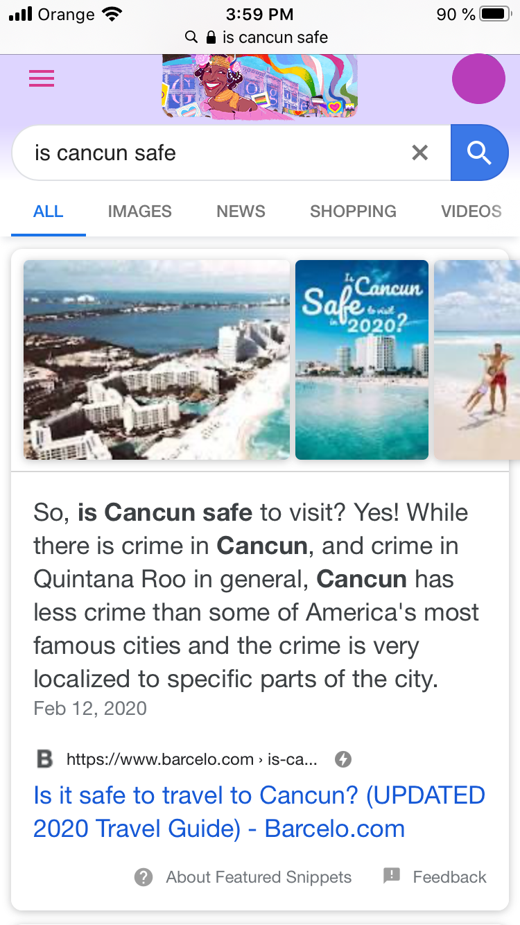 "Featured Snippet in Google AMP for ""is Cancun safe"" search"