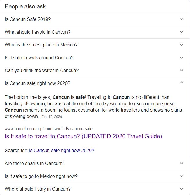 "People Also Ask feature in Google for ""is Cancun safe right now 2020"" search"
